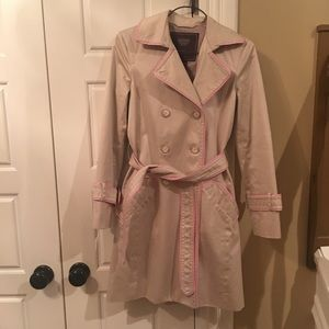 Authentic Coach Tan/beige Trench coat with pink